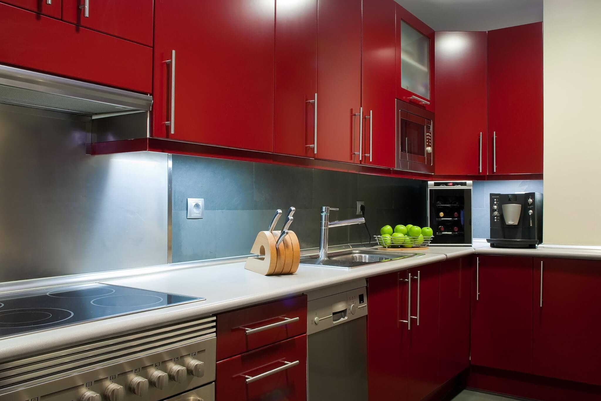 Awesome How To Decorate Your Kitchen With Timber Made Furniture With Red  Kitchen With White Cabinets