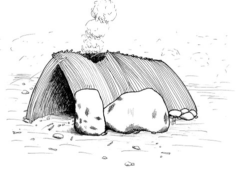 Ancient Timber House, rtist's interpretation of early human shelters